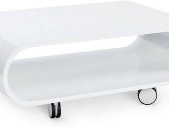 KOKOON DESIGN - table basse design arrondi avec roulettes glossy b - Table Basse Rectangulaire