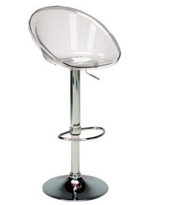 WHITE LABEL - chaise de bar sphere transparente - Chaise Haute De Bar