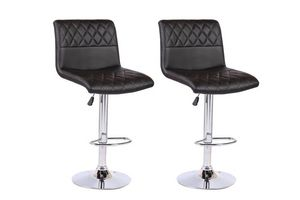 WHITE LABEL - lot de 2 chaises de bar moon similicuir noir - Chaise Haute De Bar