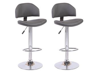 WHITE LABEL - lot de 2 chaises de bar deep similicuir gris - Chaise Haute De Bar