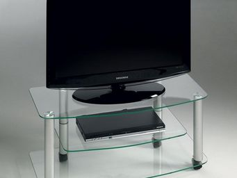 WHITE LABEL - meuble tv effel verre trempé transparent - Meuble Tv Hi Fi