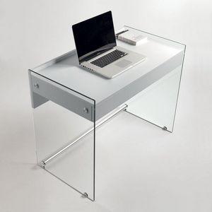 WHITE LABEL - bureau tokio 1 tiroir blanc mat piétement en verre - Bureau