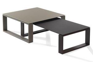 WHITE LABEL - ensemble 2 tables basses tacos taupe et chocolat - Tables Gigognes