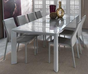 WHITE LABEL - table repas extensible london beat blanche en verr - Table De Repas Rectangulaire