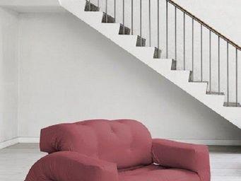 WHITE LABEL - fauteuil lit 2 places hippo futon bordeaux couchag - Fauteuil