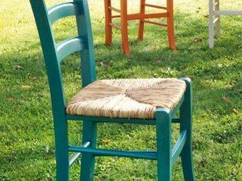 WHITE LABEL - chaise nature bleu en bois - Chaise
