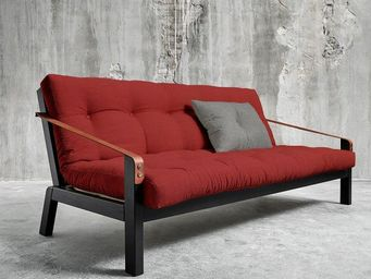 WHITE LABEL - canapé noir 3/4 places convertible poetry futon ro - Canapé 3 Places
