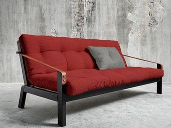 WHITE LABEL - canapé noir 3/4 places convertible poetry futon ro - Canapé 3 Places