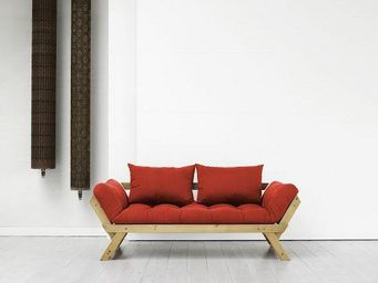 WHITE LABEL - banquette méridienne pin massif miel futon rouge b - Méridienne