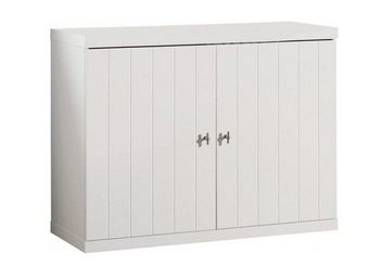 WHITE LABEL - commode robin design blanche 2 portes - Commode