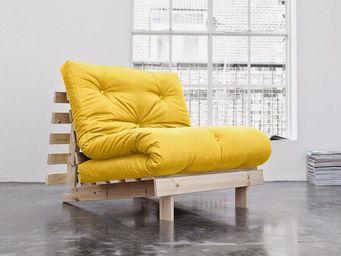 WHITE LABEL - fauteuil bz style scandinave roots futon jaune cou - Fauteuil