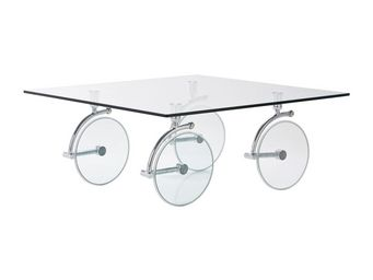 Kare Design - table basse en verre wheels 100x100 cm - Table Basse Carrée