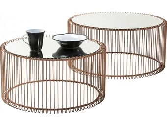 Kare Design - table basse ronde wire cuivre 2/set - Table Basse Ronde
