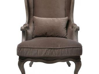 Kare Design - fauteuil à oreilles villa grandfather velours - Bergère
