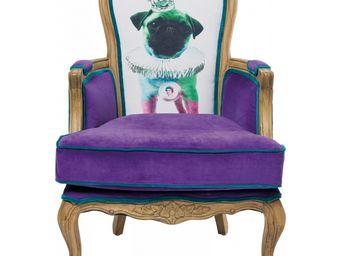 Kare Design - fauteuil baroque villa grandfather mops violet - Fauteuil
