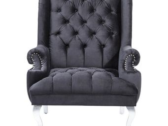 Kare Design - fauteuil barocco noir - Fauteuil