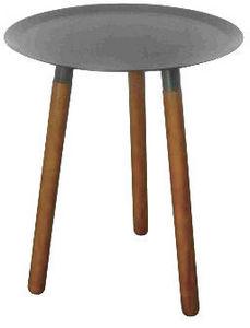 Delorm design - bout de canapé rond bois et métal - Bout De Canapé