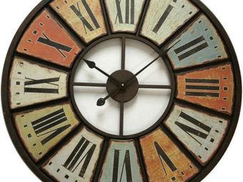 Antic Line Creations - pendule multicolore métal 75cm - Horloge Murale