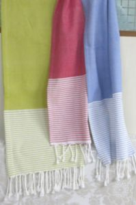 ITI  - Indian Textile Innovation - solid with stripe - Jet� De Lit