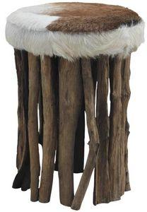 Aubry-Gaspard - tabouret teck et peau de chèvre buffalo - Tabouret