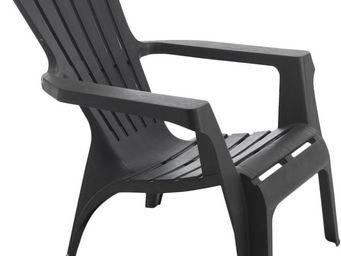 WILSA GARDEN - fauteuil adirondack en résine polypropylène anthra - Fauteuil De Jardin
