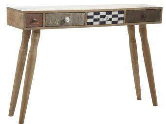 Aubry-Gaspard - console originale 4 tiroirs en manguier - Console