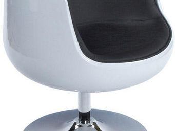 KOKOON DESIGN - fauteuil design pivotant harlow blanc/noir - Fauteuil Rotatif