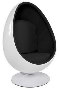 KOKOON DESIGN - fauteuil design oeuf uovo blanc/noir - Fauteuil Rotatif