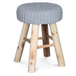 Demeure et Jardin - tabouret rond en bois assise tricot gris - Tabouret