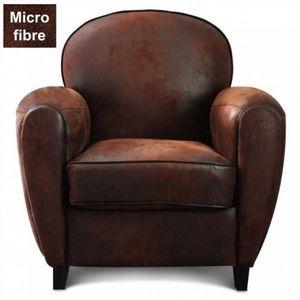Demeure et Jardin - fauteuil club en microfibre effet croûte de cuir - Fauteuil
