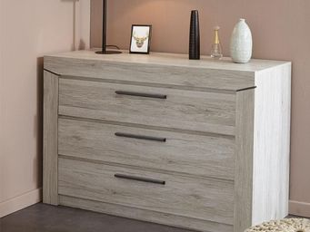 WHITE LABEL - commode 3 tiroirs chêne beige - yoho - l 120 x l 4 - Commode