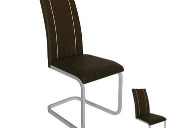 WHITE LABEL - duo de chaises similicuir marron - lumba - l 44 x  - Chaise