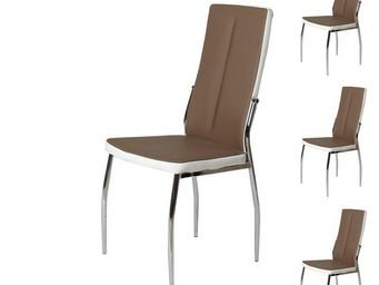 WHITE LABEL - quatuor de chaises eco-cuir marron/blanc - rina -  - Chaise
