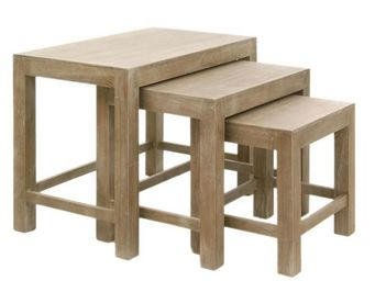 WHITE LABEL - tables gigognes - tania - l 65 x l 40 x h 52 - boi - Tables Gigognes