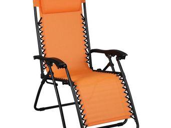 WHITE LABEL - fauteuil relax multiposition orange - spryng - l 9 - Fauteuil De Jardin Pliant