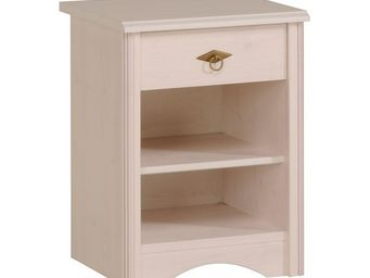 WHITE LABEL - table de chevet 1 tiroir pin blanc - gentiane - l  - Table De Chevet