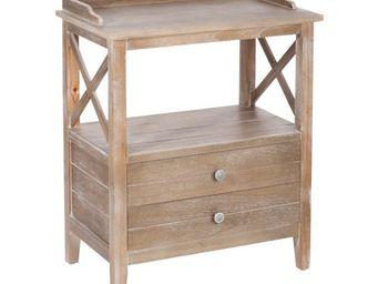 WHITE LABEL - table de chevet 2 tiroirs bois - ferret - l 60 x l - Table De Chevet