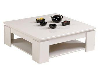 WHITE LABEL - table basse carrée blanc - quadal - l 90 x l 90 x  - Table Basse Rectangulaire