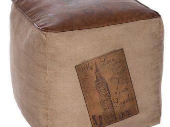 TOUSMESMEUBLES - pouf en cuir - ken - l 40 x l 40 x h 40 - cuir - Pouf