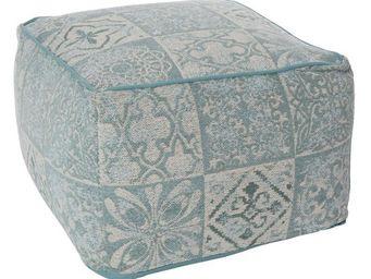 WHITE LABEL - pouf patchwork gris/bleu - sacco - l 60 x l 60 x h - Pouf