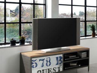 WHITE LABEL - meuble tv 1 porte - furyo - l 120 x l 45 x h 47 -  - Meuble Tv Hi Fi