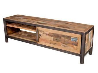 WHITE LABEL - meuble tv 1 porte coulissante - modernity - l 160  - Meuble Tv Hi Fi