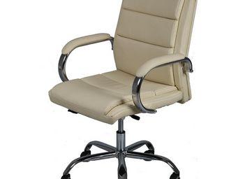 WHITE LABEL - chaise de bureau simili cuir beige - liscia - l 66 - Fauteuil De Bureau