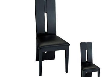 WHITE LABEL - duo de chaises simili cuir noir - fily - l 43 x l  - Chaise
