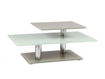 WHITE LABEL - table basse verre - alto - l 100 x l 60 x h 45-59  - Table Basse Rectangulaire