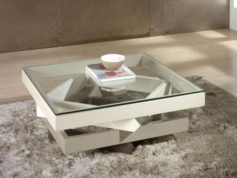 WHITE LABEL - table basse carrée crème - kart - l 90 x l 90 x h  - Table Basse Carrée