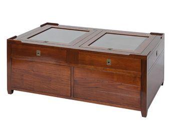WHITE LABEL - table basse en bois - magellan - l 115 x l 65 x h  - Table Basse Rectangulaire