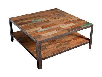 WHITE LABEL - table basse carrée double plateau - fabrik - l 80  - Table Basse Carrée