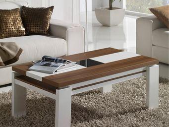 WHITE LABEL - table basse relevable - upta - l 110 x l 60 x h 44 - Table Basse Rectangulaire