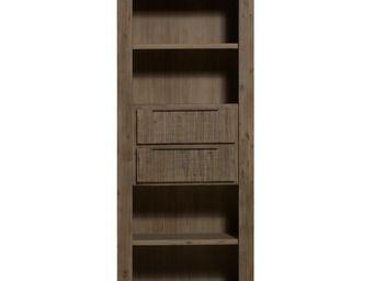 WHITE LABEL - bibliothèque - danna - l 80 x l 40 x h 200 - bois - Bibliothèque